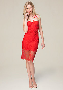 bebe Liz Lace Bustier Midi Dress