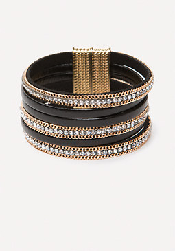bebe Crystal & Faux Leather Cuff