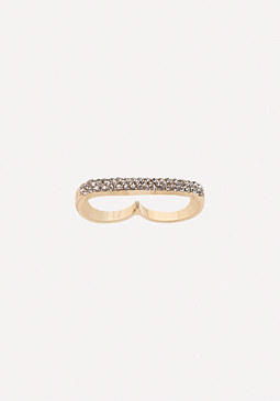 bebe Crystal Double Ring
