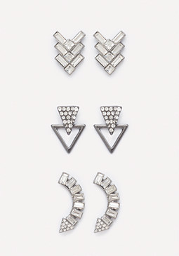 bebe Geo Gem Earring Set