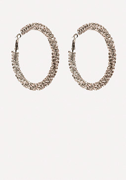 bebe Crystal Twist Hoop Earrings