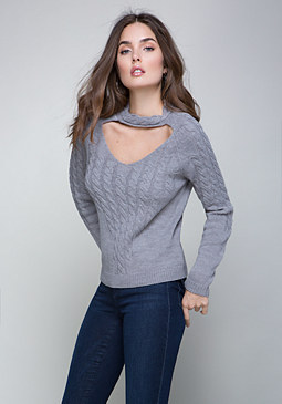 bebe Cable Choker Sweater