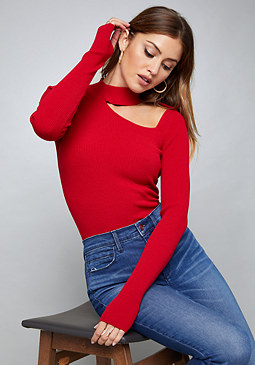 bebe Ribbed Cutout Sweater Top