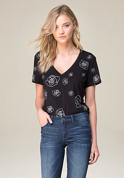 bebe Embroidered V-Neck Tee