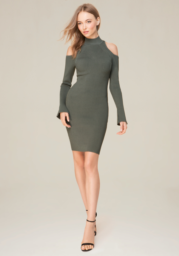 Cold Shoulder Sweater Dress at bebe in Sherman Oaks, CA | Tuggl
