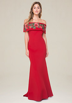 Rose Applique Mermaid Gown