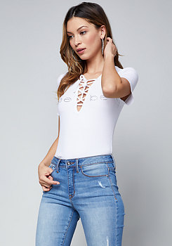bebe Logo Lace Up Tee