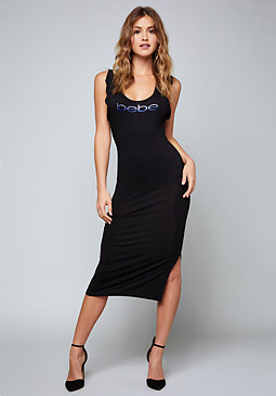 bebe Logo Ruffled Midi Dress