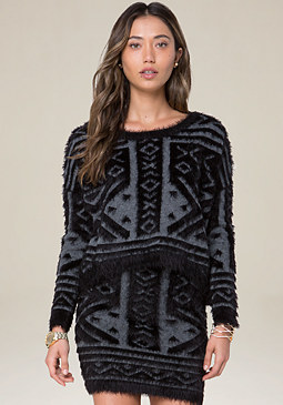bebe Tribal Eyelash Sweater