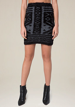 bebe Tribal Eyelash Miniskirt