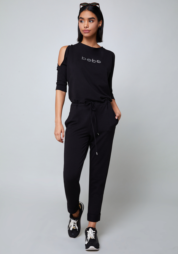 Logo Brigitte Jumpsuit at bebe in Sherman Oaks, CA | Tuggl