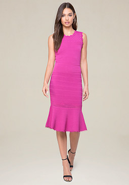 bebe Pointelle Flounce Hem Dress