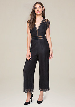 bebe Walker Lace Jumpsuit