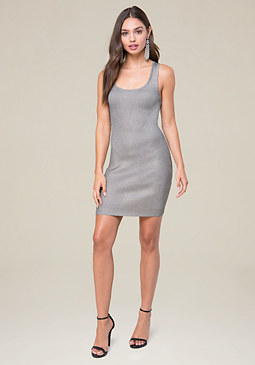 bebe Foiled Rib Knit Dress