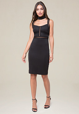 bebe Mock Neck Mesh Inset Dress
