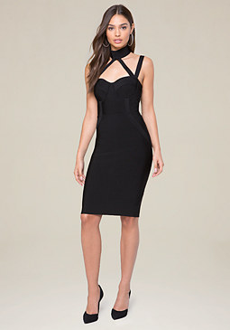 bebe Knit Choker Neck Dress