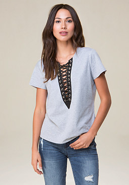 bebe Marian Lace Up Top