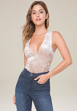 bebe Velvet Lace Up Bodysuit