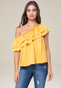 bebe One Shoulder Asymmetric Top