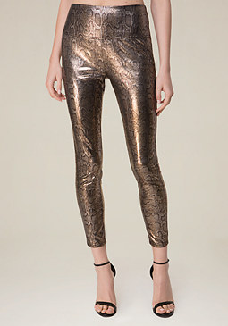 bebe Stretch Faux Snake Leggings