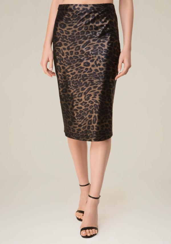 Leopard Mesh Midi Skirt at bebe in Sherman Oaks, CA | Tuggl