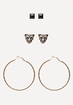 bebe Lion Head Trio Earring Set