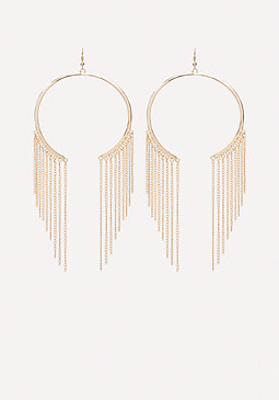 bebe Fringe Open Hoop Earrings