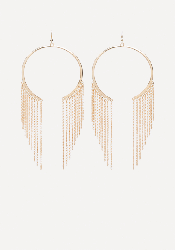 Fringe Open Hoop Earrings at bebe in Sherman Oaks, CA | Tuggl