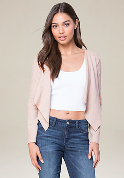 bebe Faux Suede Crop Jacket