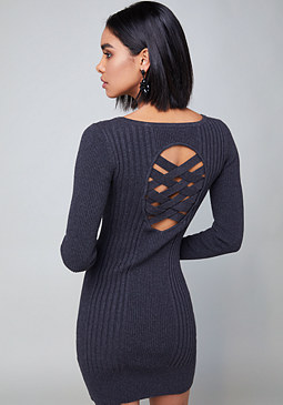 bebe Cage Keyhole Sweater Dress