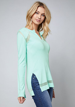 bebe Sheer Inset Henley Top