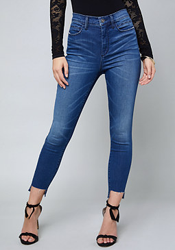 High Rise Step Hem Jeans at bebe
