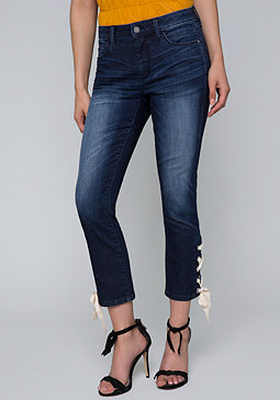 bebe Lace Up Crop Jeans