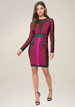 bebe Lace Up Bodycon Dress