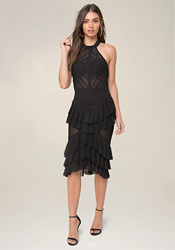 bebe Mesh Inset Ruffle Dress