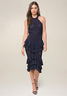 Mesh Inset Ruffle Dress