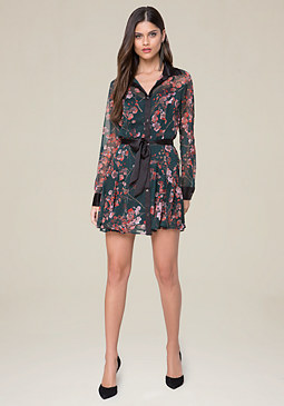 bebe Print Sash Tie Shirtdress