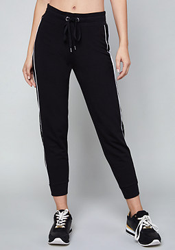 bebe Logo Lace Trim Jogger Pants
