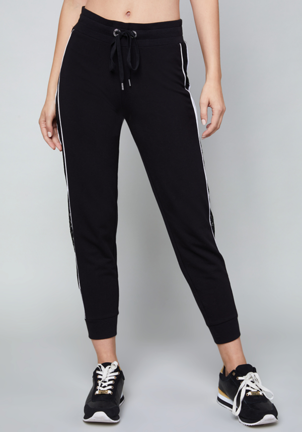 Logo Lace Trim Jogger Pants at bebe in Sherman Oaks, CA | Tuggl