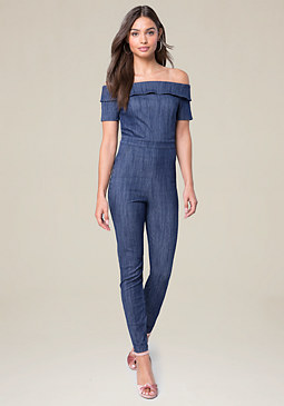bebe Sam Off Shoulder Jumpsuit