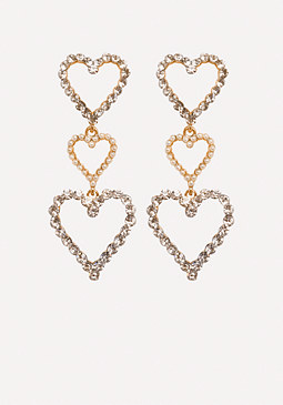 bebe Triple Heart Earrings