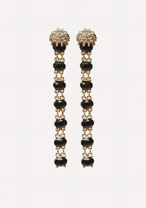 Lion & Black Stone Earrings