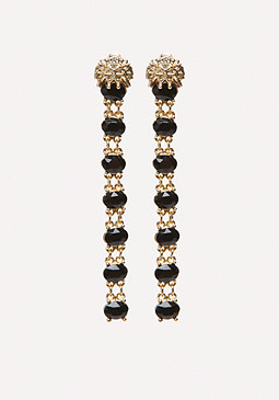 bebe Lion & Black Stone Earrings