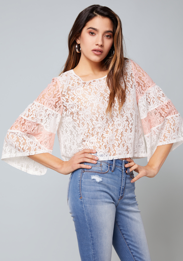 Rachel Colorblock Lace Top at bebe in Sherman Oaks, CA | Tuggl