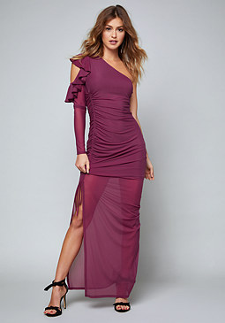 bebe Maureen One Shoulder Gown