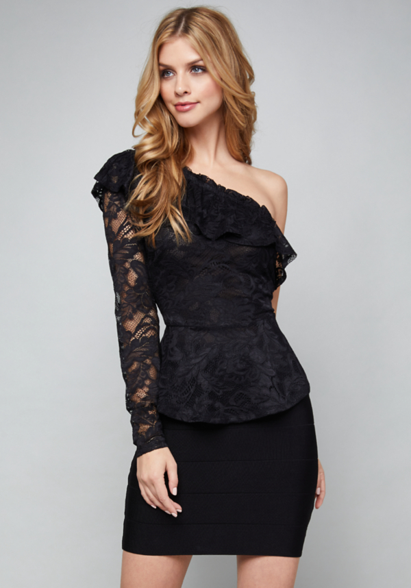 Lace Ruffle Top at bebe in Sherman Oaks, CA | Tuggl