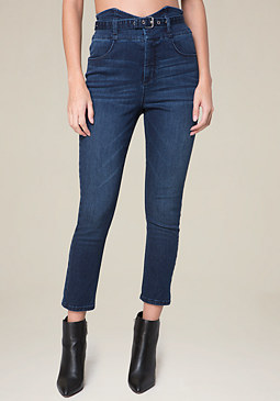 bebe Belted High Rise Crop Jeans