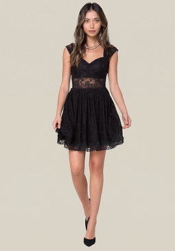 bebe Lace Sweetheart Dress