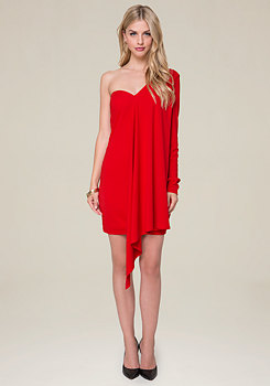 bebe Draped One Sleeve Dress