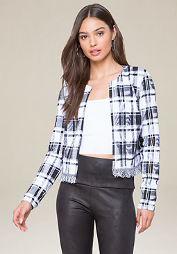 bebe Black & White Plaid Jacket